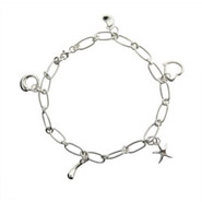 Tiffany Style Charm Anklet in Sterling Silver