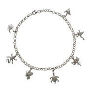 Tiffany Inspired CZ Sterling Silver Nature Charm Anklet