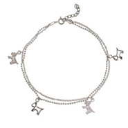 The Puppy Dog CZ Sterling Silver Anklet