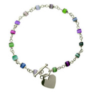 Sterling Silver Cats Eye Heart Tag Anklet