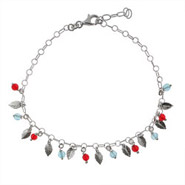Blue and Red Beaded Sterling Silver Feather Anklet