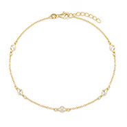 Tiffany Inspired Gold Vermeil CZs By The Yard Anklet