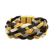 Gold Four Tone Mesh Braided Bracelet
