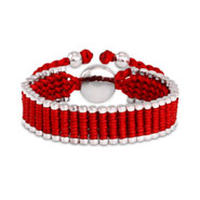 Designer Inspired Red Linked Engravable Friendship Bracelet