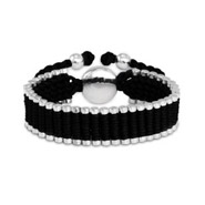 Designer Inspired Black and Silver Linked Friendship Bracelet