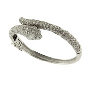 Dazzling Celebrity Style CZ Snake Bangle Bracelet
