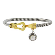 Designer Inspired Cable Bangle Bracelet with Pearl Charm