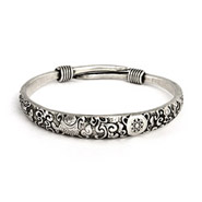 Elaborate Scrollwork Design Bali Bangle Bracelet