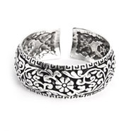 Floral Greek Design Wide Bali Cuff Bracelet