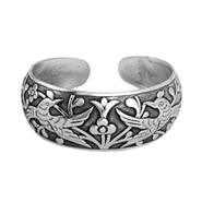 Loving Doves Wide Bali Cuff Bracelet