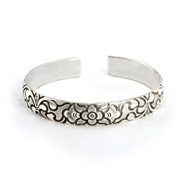 Raised Decorative Flower Design Bali Cuff Bracelet