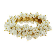 Gold Stretch Bangle Bracelet with Cluster of Pearls