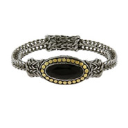 Designer Inspired Oval Onyx Bracelet with Gold Dotted Edging