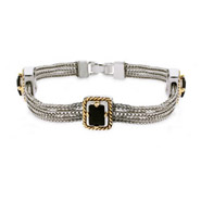 Designer Inspired Emerald Cut Onyx CZ Three Strand Bracelet