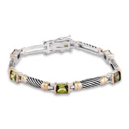 Designer Inspired Cable Bracelet with Olive Cubic Zirconia