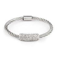 Designer Inspired Pave CZ Bar Cable Bangle Bracelet