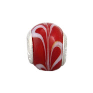 Cherry Red Swirl Glass Oriana Bead - Pandora Bead & Bracelet Compatible