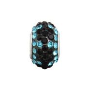 Blue Zircon with Black Flowers Oriana Bead - Pandora Bead & Bracelet Compatible