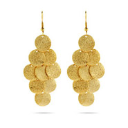Shimmering Gold Round Cluster Earrings