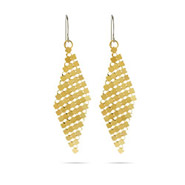 Golden Mesh Link Dangle Earrings