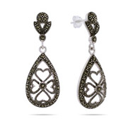 Peardrop Marcasite Earrings in Floral Design
