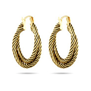 Gold Crossover Cable Hoop Earrings