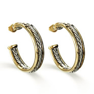 Designer Inspired Two Tone Cable Hoop Earrings