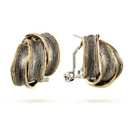 Designer Inspired Two Tone Triple Twisted Leverback Earrings