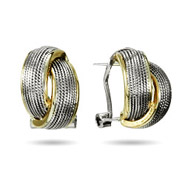 Designer Inspired Two Tone Double Twist Earrings