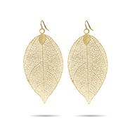 Golden Leaf Earrings in Filigree Design