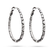 Designer Inspired Oval Cobblestone Hoop Earrings