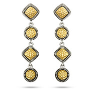 Designer Inspired Long Hammered Gold Bali Style Earrings