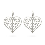 Pretty Filigree Heart Drop Earrings