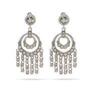 Double Round Sparkling CZ Chandelier Earrings
