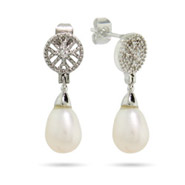 Vintage Style Peardrop Freshwater Pearl Earrings