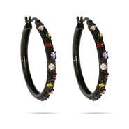 Multicolor CZ Black Rhodium 1 inch Hoop Earrings