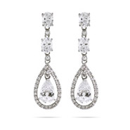 Red Carpet Style Double Teardrop with Oval Cut CZ's Earrings