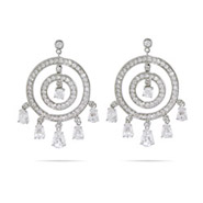 Circles with Dangling Teardrop CZ's Chandelier Earrings