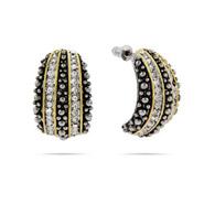 Designer Inspired Bali Style CZ Half Hoop Earrings