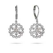 Rosa's Pretty Sparkling Flower Drop Earrings