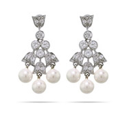 Tania's CZ and Pearl Tulip Dangle Earrings