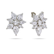 Jenna's Sparkling Diamond CZ Flower Stud Earrings