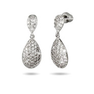 Sparkling Pave CZ Teardrop Earrings