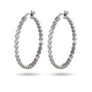 1.25 Sparkling CZ Bezel Hoop Earrings