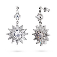 Sparkling Dangled Flower Diamond CZ Earrings