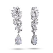 Elegant Marquise Vine CZ Teardrop Earrings
