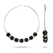 Reality TV Wives Inspired Black Crystal Large Beaded Hoops