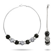 TV Wives Inspired Black and Silver Beaded Hoop Earrings