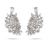 Glitz and Glamour CZ Leaf Design Cocktail Earrings