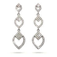Vintage Deco Style Micropave CZ Diamond Dangle Earrings
